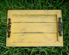 Decorative / Serving Tray Mustard distressed by EklectikGreen