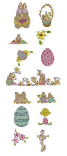 Sweet Easter embroidery design available for instant download at www.designsbyjuju.com