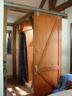 Large sliding door to restroom - small house with 2 bedrooms Church Design, Sliding Doors, Preserve, Ranch, Bathrooms, Texas, Design Ideas, Cottage, Architecture