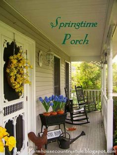 Country furniture reflects the true essence of a front porch. If you love country, then country style furniture will be wonderful for your porch, too. Country Porch Decor, Country Front Porches, Country Farmhouse, Southern Porches, Farmhouse Door, Country Houses, Country Chic, Rustic Decor, Country Style Furniture