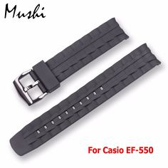 MS Silicone Watch Band Black Stainless Steel Buckle Watchband Rubber Strap For casio EF-550 EF550 22mm Rubber Strap Free tools //Price: $US $9.99 & FREE Shipping //     #hashtag3