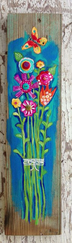 Mixed Media Floral Home Decor on Etsy, $58.00