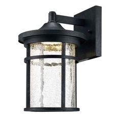 Home Decorators Collection Aged Iron Outdoor LED Wall Lantern with Crackle Glass-LED-KB 08304 - The Home Depot