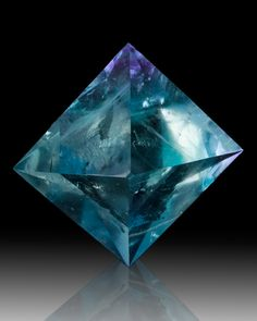 "3.2"" Exceptional Vivid Blue POLISHED FLUORITE OCTAHEDRON Hardin Co. IL for sale - $800"