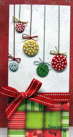 Tays Rocha: Button Art - lots of great ideas here for cards, etc Handmade Christmas, Christmas Crafts, Button Cards, Button Christmas Cards, Christmas Buttons, Christmas Baubles, Winter Cards, Card Tags, Creative Cards