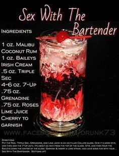 Sex With The Bartender Cocktail Recipe Bartender Drinks, Bar Drinks, Beverages, Hey Bartender, Malibu Coconut, Coconut Rum, Malibu Rum, Cocktails, Cocktail Drinks