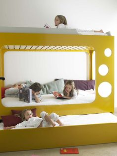 Bunk bed for three!! Clean + playful design for kids and adults