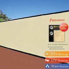 Decorative Fences - 6 x 50 3rd Gen Tan Beige Fence Privacy Screen Windscreen Shade Fabric Mesh Tarp Aluminum Grommets *** Want to know more, click on the image. (This is an Amazon affiliate link)