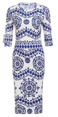 SHEINPorcelain Print Pencil Dress