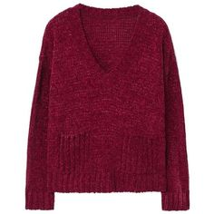 Chenille Sweater (€34) ❤ liked on Polyvore featuring tops, sweaters, jumper, sweaters and sweatshirts, chenille sweater, purple cable knit sweater, long sleeve tops, v-neck sweater and cable-knit sweater