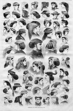 ANTIQUE FASHION 1866 LADIES HEAD GEAR BONNETS HATS HAIR BUNS FASHION HISTORY