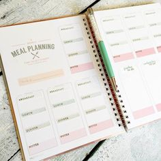 Customizing an InkWell Press meal planner