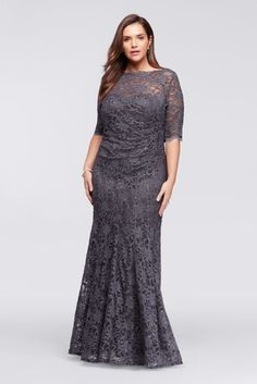 983ce3d902d02 You will radiate pure elegance in this beautiful lace dress perfect for any  Mother of the Bride dress! All over glitter lace dress with sleeves  features a ...