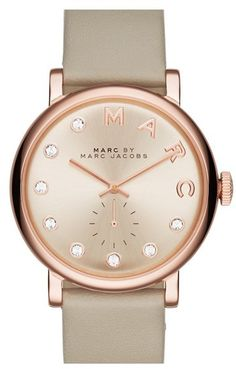 Women's Marc Jacobs 'Baker' Crystal Index Leather Strap Watch, 36Mm