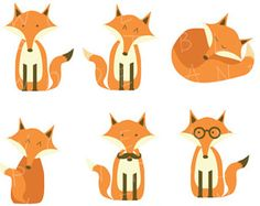 Fox clip art - 6 images of foxes - 300 dpi .png files - Cute hipster foxes