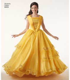Simplicity Pattern 8404 Disney Beauty and the Beast Belle Costume - be our guest ! Simplicity patterns available now from Jaycotts - You've got it made ! Disney Princess Dresses, Princess Costumes, Disney Dresses, Prom Dresses, Wedding Dresses, Belle Cosplay, Beauty And The Beast Costume, Disney Beauty And The Beast, Belle Halloween Costumes
