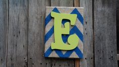 Chevron canvas with the letter E burlap by PurplePaisleyPalace