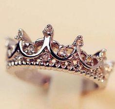 Fashion Princess Women 925 Sterling Silver Rhinestone Crown Ring Size 7 8 9