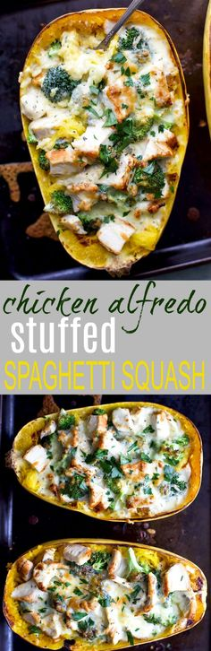 Chicken Alfredo Stuffed Spaghetti Squash, a delicious dinner recipe that screams comfort food but in a healthy way. Spaghetti Squash filled with chicken, broccoli then covered in a cheese sauce! #AD #glutenfree #cabotcheese via @jheats