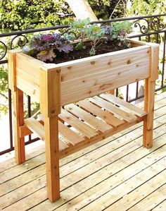 Cedar Standing Planter Box With Storage Shelf