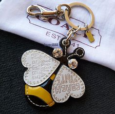 New Coach Leather Crystal Poppy Bumble Bee Charm Key Fob Keychain