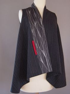 Princess LIne Lapel Vest in Black with 3 Silk Accent Stripes. Don't know who the artist is.