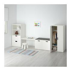 STUVA Opbergcombinatie met bank, wit, wit wit/wit 300x50x128 cm