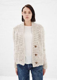 : how awesome is this?!  I've gotta make a chunky cardigan!     Maison Martin Margiela Chunky Hand-Knit Cardigan (Oatmeal)