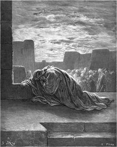 Ezra falls on his knees and prays to God - Gustave Dore
