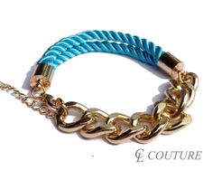 Turquoise Nautical Silk Rope Chunky Gold Chain Bracelet Adjustable
