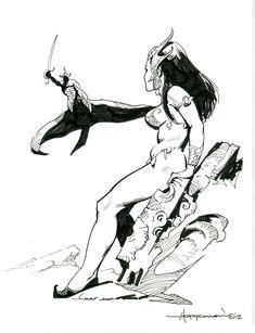 MIKE HOFFMAN original art, Dejah Thoris of John Carter, Winged, 8.5 x11 , 2012 Comic Art