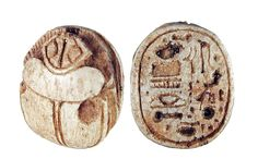 https://flic.kr/p/frauKj | Sadigh Gallery's Ancient Egyptian Limestone Scarab | Limestone scarab, with incised hieroglyphics on the bottom. A common type of amulet, the scarab is so called because it was made in the shape of a beetle (Scarabaeus sacer or dung beetle) that was personified by Khepri, a sun god associated with resurrection. 18th Dynasty, 1570-1342 BC