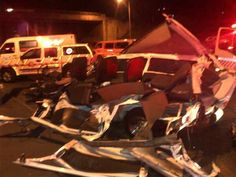 * KZN horror crash * | 24 people died in a horror crash on Field's Hill near Pinetown, KwaZulu-Natal, on Thursday evening when an 18-wheeler truck carrying containers ploughed into four fully-laden minibus taxis and a car. Photo: Rob Byrne @TrafficSA