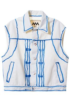 ALEX MULLINS BLUE LINED HAND PAINTED DENIM VEST Hand painted denim vest. Made in Pakistan. 100% cotton. SIZE & FIT Runs large (intentionally oversized). ALEX MULLINS British Menswear designer who experiments with artisanal textiles and a creative approach to workwear.
