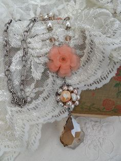 Peaches and Cream Necklace Set by thewhisperingseas on Etsy, $45.00