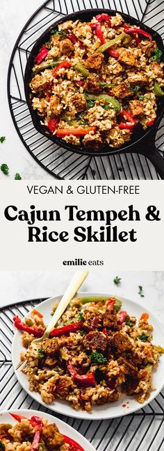 Use up leftover rice in this quick and tasty Cajun Tempeh and Rice Skillet! It comes together in 30 minutes for an easy weeknight dinner. Best Vegetarian Recipes, Tofu Recipes, Healthy Dinner Recipes, Whole Food Recipes, Vegetarian Meals, How To Cook Tempeh, Easy Vegan Dinner, Recipes, Vegetarian Food
