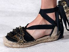 Nothing evokes summer below the ankle quite like a good pair of espadrilles. But at Oscar de la Renta's spring/summer 2016 show, the classic shoe became a study in contrasts: The classic style, with its woven sole, came elevated with jet-black beads. The effect was everything you'd want during the summer months: laid-back but still a little dressy, timeless but cool, not to mention — comfortable. (Photo: Firstview)