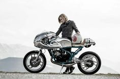 inspired by the open road Retro Motorcycle, Cafe Racer Motorcycle, Motorcycle Style, Biker Style, Motorcycle Girls, Yamaha Cafe Racer, Cafe Racers, Cafe Racer Style, Cafe Racer Girl