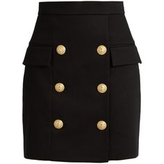 Balmain Six-button piqué mini skirt (12.914.685 IDR) ❤ liked on Polyvore featuring skirts, mini skirts, bottoms, saias, black, balmain skirt, high-waist skirt, high-waisted skirts, high waisted bodycon skirt and high rise skirts