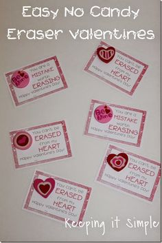 Super Easy No Candy Valentine- Eraser Valentine with Free Printable. Funny Valentine Printable. @keepingitsimple