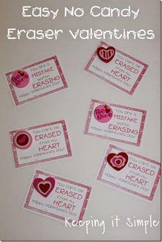 Super Easy No Candy Valentine- Eraser Valentine with Free Printable.  Funny Valentine Printable.  @keepingitsimple