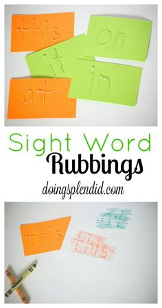I made this sight word rubbings activity for my son to help get him ready for kindergarten. He loves to practice sight words when we do this. This is a wonderful activity to learn letters, numbers, or for a child learning to write their name. Teaching Sight Words, Sight Word Practice, Sight Word Activities, Sight Word Games, Reading Activities, Reading Games, Spelling Activities, Art Activities, Toddler Activities