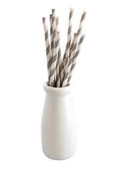 Grey & White Striped Paper Straws by Little Dance $10