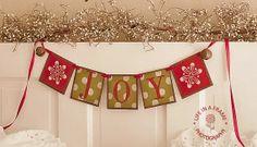 Primitive CHRISTMAS banner JOY BANNER Garland by thecracklingcrows, $26.00