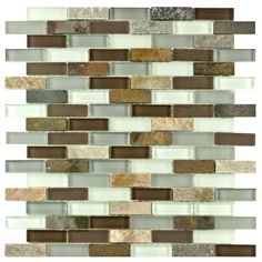 This modern mosaic glass and stone tile motif will add lots of drama to your kitchen or bathroom. Various glass and stone textures combine with tumbled stones and smooth glass to give this piece a designer-inspired art gallery influence.