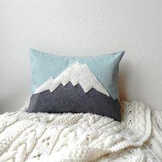 the Mountain // linen  wool mountain cushion by ThreeBadSeeds, $68.00