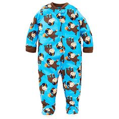 Little Me Zip-Up Blue Footed Sleeper with Football Sports Monkey Print:  Little me footies (footy) are the perfect baby essential for sleep or play...