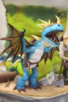 A cake story of How to Train Your Dragon Dragon Birthday, Dragon Party, Dragon Ball, How To Train Dragon, How To Train Your, Fondant Figures, Fancy Cakes, Cute Cakes, Toothless Cake