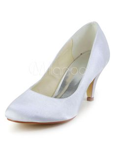 """Glamour White Round Toe Silk And Satin Pumps For Bridal - Milanoo.com $41.39 Heel Height:  2.6"""""""