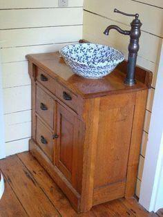 Trendy bathroom sink old cabinets ideas Bathroom Sink Bowls, Bathroom Sink Design, Diy Bathroom Vanity, Diy Bathroom Remodel, Small Bathroom, Bowl Sink Vanity, Bathroom Ideas, Relaxing Bathroom, Dresser Vanity
